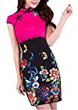Coac3 New Faux Silk Short Sleeve Cheongsam Dress China Dress Dresses Floral Qipao for Women 820 XXL