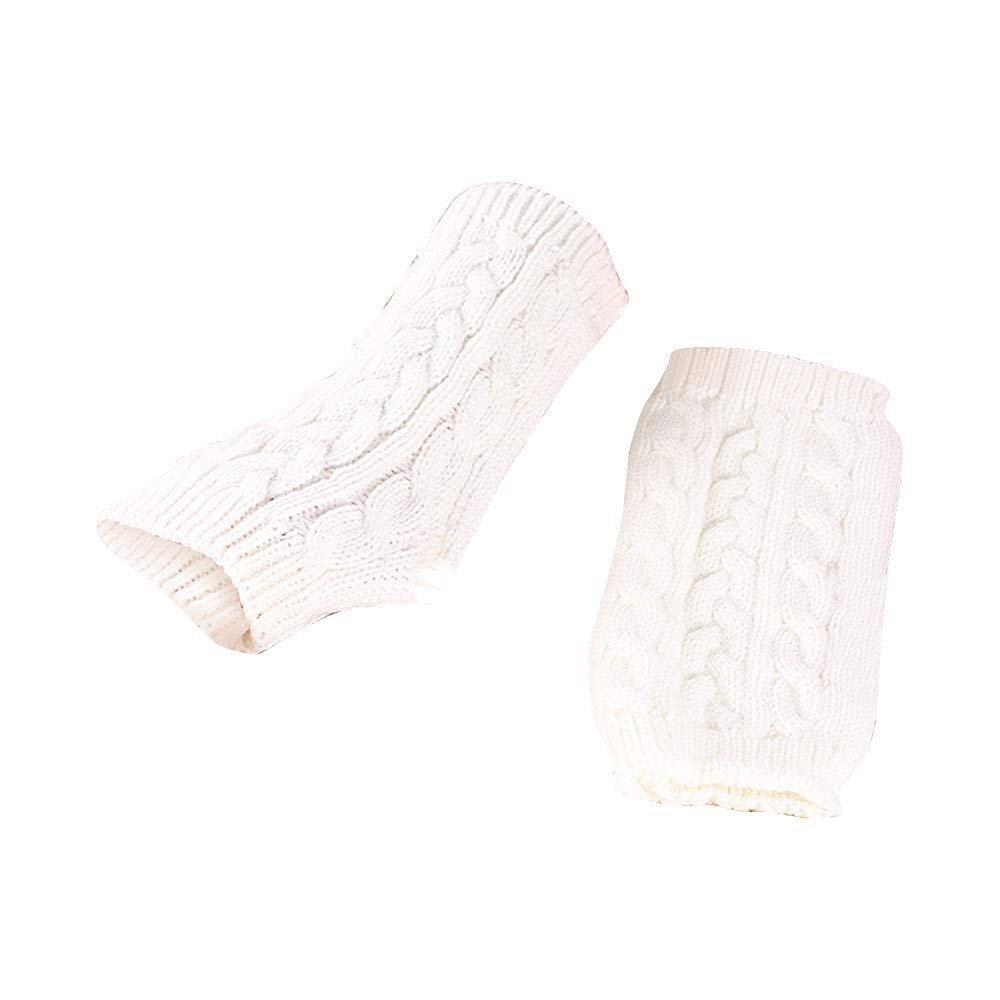 Women's Cozy Wool Knit Arm Warmer Cable Knit Fingerless Gloves Mittens with Thumbhole