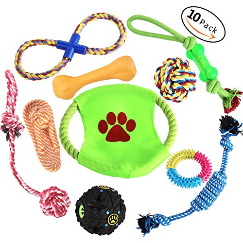 Aipper Dog Rope Toys 10 Pack, Puppy Chew Toys for Playtime and as a Dental Teaser, IQ Treat Ball and Dog Frisbee Included, Variety Puppy Teething Toys for Medium to Small Doggie (Random Colors)