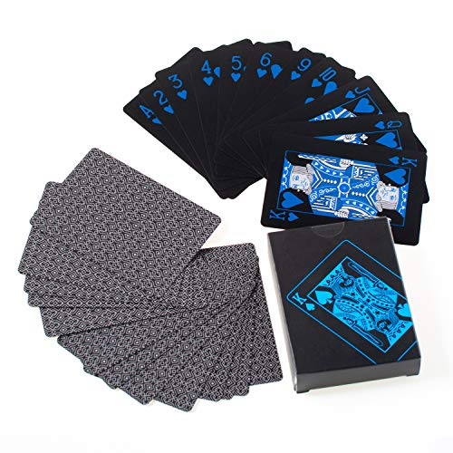 (Joy Join Playing Cards Waterproof Plastic Poker, Black PVC Poker Table Cards Classic Magic Tricks Tool Deck (54pcs)(Blue))