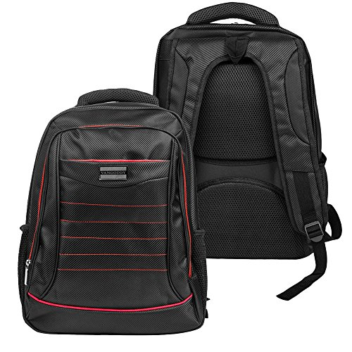 Vangoddy Water Resistant Padded Zipper Travel College Backpack Satchel (Red) for Samsung Notebook 5 / 7 Spin / Odyssey Series 15.6' Laptop / Alcatel TCL Xess 17.3' / LeapFrog LeapPad 7' Tablet