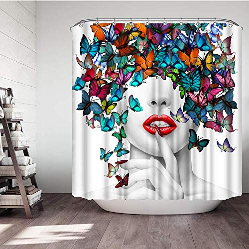 VividHome Sexy Girl with Butterfly Shower Curtain Set 3D Print Waterproof Polyester Shower Curtain with 12 Hooks for Bathroom Decor,72 x 72 inches