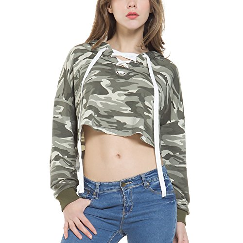 Camouflage Lace Up Cropped Hoodie For Women,Camouflage ()