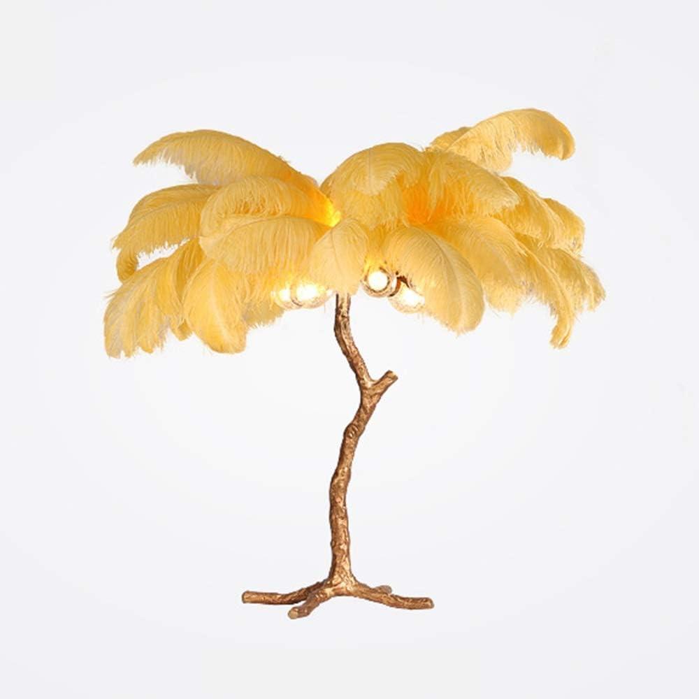 L.W.SURL Lámpara de Mesa de Plumas Amarillas Escritorio de Cobre ...