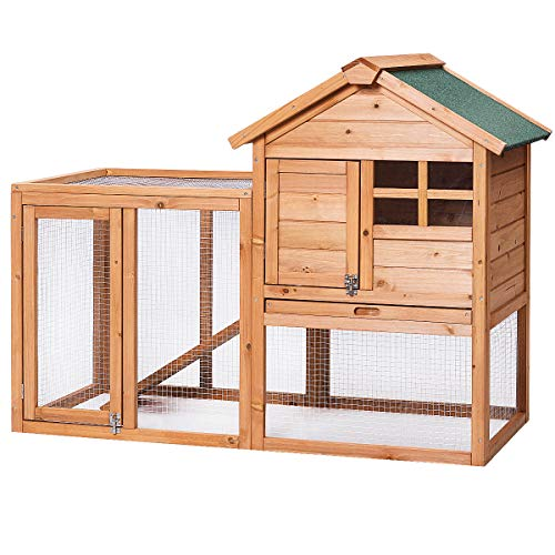 Tangkula Large Chicken Coop Wooden Rabbit Hutch Outdoor Garden Backyard Hen House Wood Pet House Poultry Cage with Outdoor Run(Natural) from Tangkula