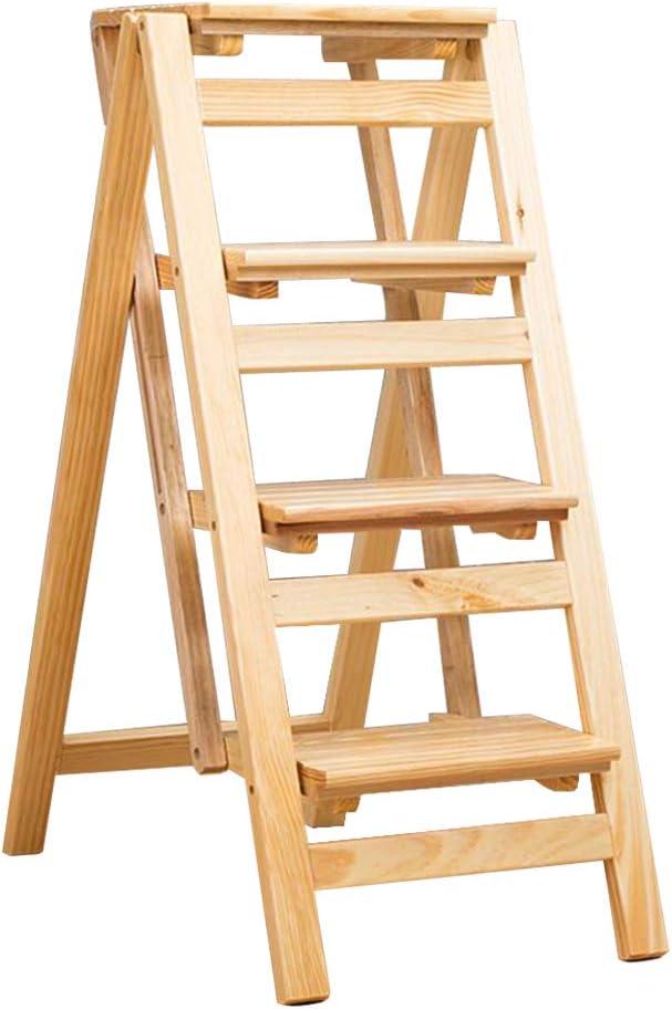 Hogar de Madera Maciza Plegable multipropósito Escalera Silla Escalera taburetes Escaleras Interiores Taburete Creativo de 4 Pasos. Cojinete de Carga 150kg: Amazon.es: Hogar