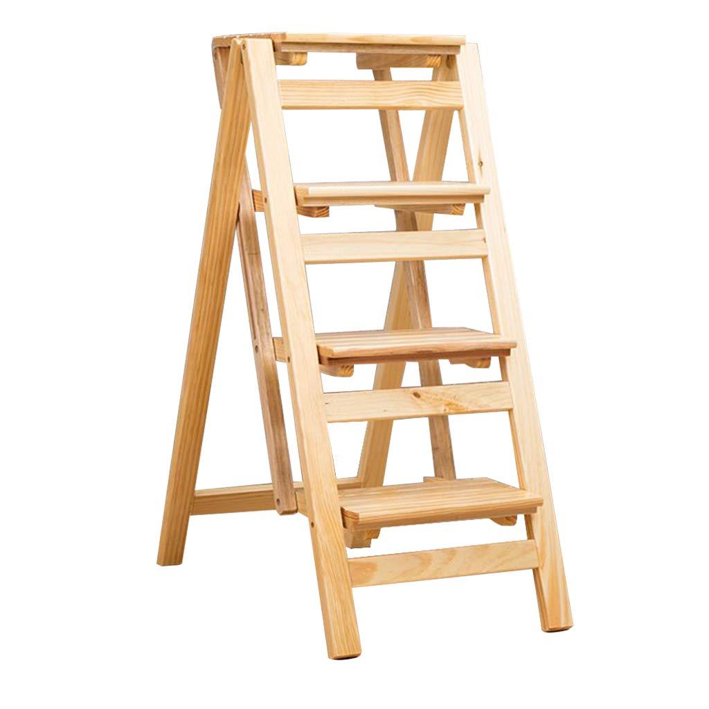 純木の世帯 折りたたみ多目的 階段椅子はしごスツール 室内の厚さ上昇梯子 クリエイティブ4段スツール。 耐荷重150kg B07QFJ6HMN Wood color