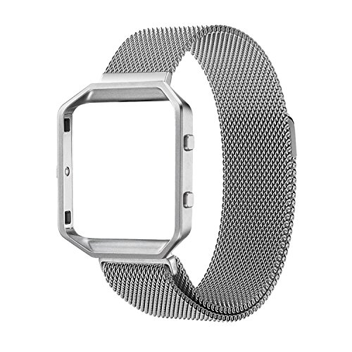 Oitom Metal Bands Strap Compatiable Fitbit Blaze,Small (5.5-6.7 in), Frame Housing+Milanese Loop Stainless Steel Accessory Band for Fitbit Blaze Smart Watch Fitness (Silver)