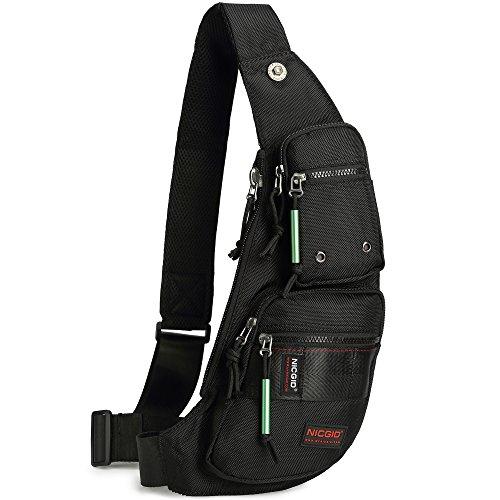 (Nicgid Sling Bag Chest Shoulder Backpack Fanny Pack Crossbody Bags for Men (black))