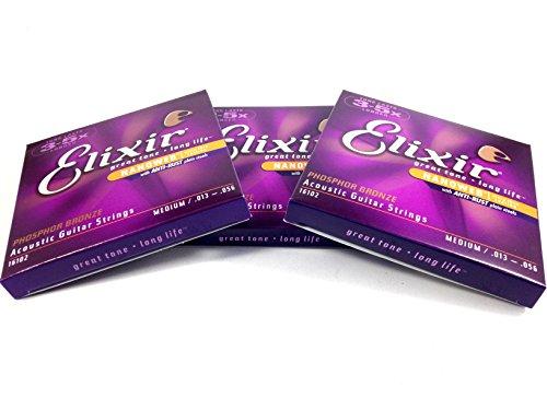 3 Pack Elixir Guitar Strings Phosphor Bronze Nanoweb Medium 13-56