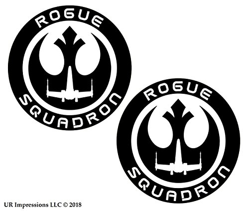 (UR Impressions MBlk 3in. Rogue Squadron 2-Pack Decal Vinyl Sticker Graphics for Car Truck SUV Van Wall Window Laptop Matte Black 3 Inch URI535)