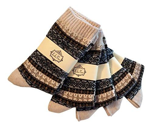 LuluVin Women's Vintage Style Casual Knit Crew Socks - 5 Pairs (5 Beige)