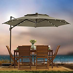 Great Destination Summer 11 Foot Round Solar LED Adjustable Cantilever Outdoor  Patio Umbrella With Base And Cover, Mocha Brown