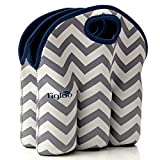 Neoprene 6 Pack Bottle Carrier, Extra Thick Insulated Baby Bottle Cooler Bag Keeps Baby Bottles Cold or Warm Great as Baby Shower Gift (Gray Chevron Navy Trim)