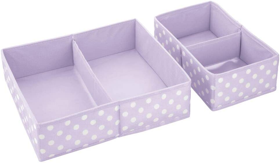 mDesign Set of 8 Storage Box Storage System with 2 Compartments Each for Various Accessories 8 Fabric Organisers in 2 Sizes for the Nursery Light Purple//White
