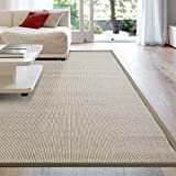 iCustomRug Zara Contemporary Synthetic Sisal Rug, Softer Than Natural Sisal Rug, Stain Resistant & Easy To Clean Beautiful Border Rug in Beige 7 Feet 10 Inches x 10 Feet (8' x 10')