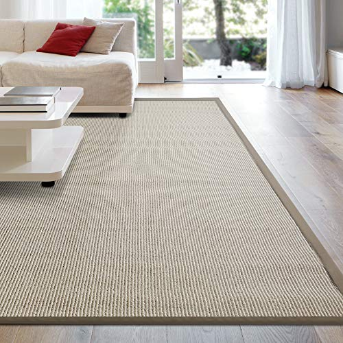 iCustomRug Zara Synthetic Sisal Collection Rug and Runners, Softer Than Natural sisal Rug, Stain Resistant & Easy to Clean Beautiful Border Rug in Beige 8'6 x 12'