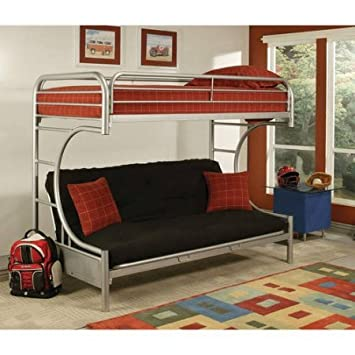 Eclipse Twin Over Full Futon Bunk Bed Silver
