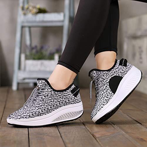Gris Plateforme Tennis Femmes Casual Zomine Sneakers Compensées Hauts Lumière De Clair Fitness Chaussures Confortable Talons FYOxq