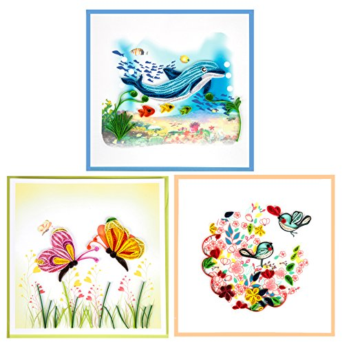 Miniwings Handmade Paper Quilling Cards Greeting Cards Happy Birthday Thank You Romantic Cards Set of 3-Assortment Pack (Pack 5)