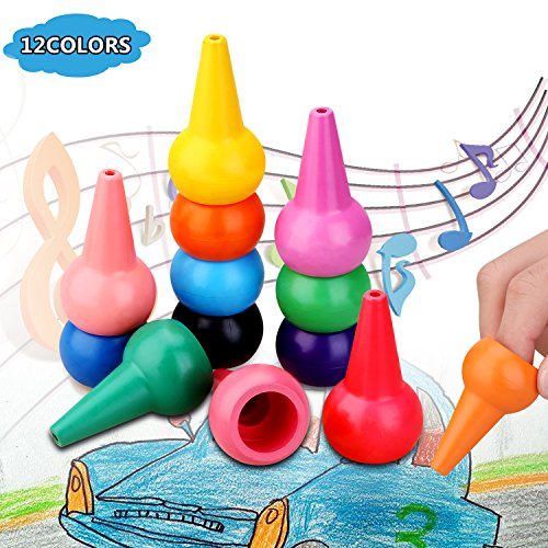 Image of the Crayons for Toddlers Kids Paint Crayon Girls Boys Gift-12 Colors Washable Palm-Grip Crayon Set for 2-9 Years Old, Safe and Non-Toxic Small and Cute Gift Sticks Stackable Toys for Kids.