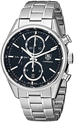 TAG Heuer Men's CAR2110.BA0720 Carrera Black Dial Chronograph Steel Watch