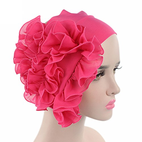 Litetao 2017 Women Flower Chemo Beanie Shower Scarf Turban Head Wrap Cap Headband (Hot Pink) (Head Wrap Turban Scarf)