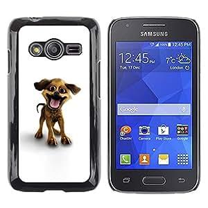 Be Good Phone Accessory // Dura Cáscara cubierta Protectora Caso Carcasa Funda de Protección para Samsung Galaxy Ace 4 G313 SM-G313F // Funny Happy Puppy Dog