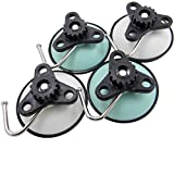 QY White Color and Light Green Color Powerful Heavy Duty Vacuum Suction Hooks Hangers Set of 4