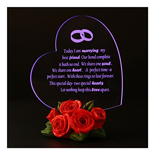 Giftgarden LED Light Wedding Cake Toppers Decorations Heart with Rose Anniversary Gifts for Couple
