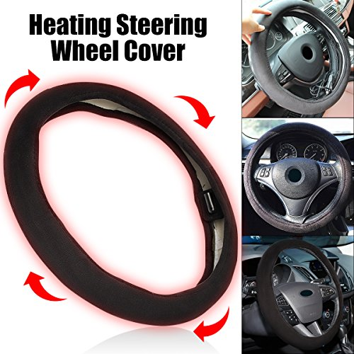 Goodream Car Heated Steering Wheel Cover Keep Comfortable and Warm While DrivingBlack Steering Wheel Protector Cover