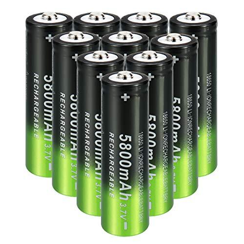 Skywolfeye Flashlight Headlamp Batteries, 10PCS 5800mAh 18650 Battery Rechargeable 3.7v Li-ion Button Top