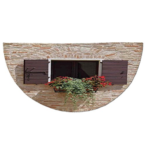 Cheap  Half Round Door Mat Entrance Rug Floor Mats,Tuscan,Antique Looking Window on an..