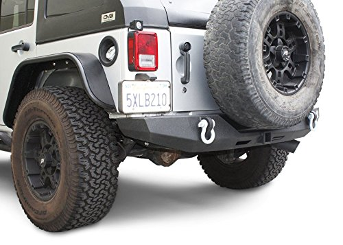 DV8 Jeep Wrangler Rear Bumper Hammer Forged 4x4 Offroad Bumper Fits 07-17 JK Model Includes Class 3 Tow Hitch and D-Rings Textured Black Powdercoat Finish Easy Installation ()