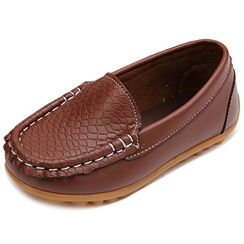 LONSOEN Toddler/Little Kid Boys Girls Soft Split Leather Loafer Slip-On Boat-Dress Shoes/Sneakers,Brown,7 M US Toddler