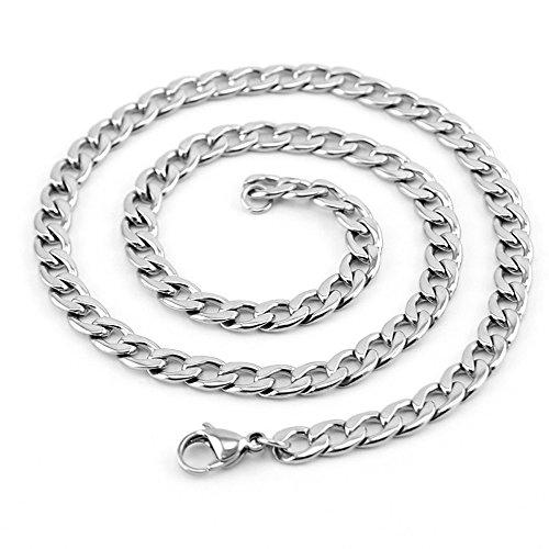 Unisex hombres mujeres 6mm de ancho Curb cubana cadena collar 16–96,5cm Acero Inoxidable, 1