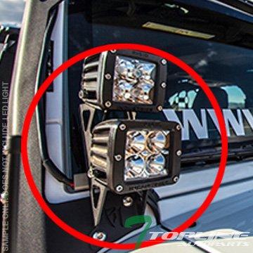 Topline Autopart Black Lower A-Pillar Light Bar Mount Brackets Kit For 4