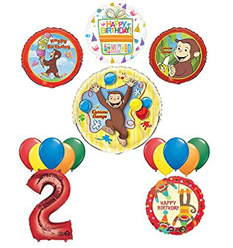The Ultimate 16pc Curious George 2nd birthday party Supplies and Balloon Decorations
