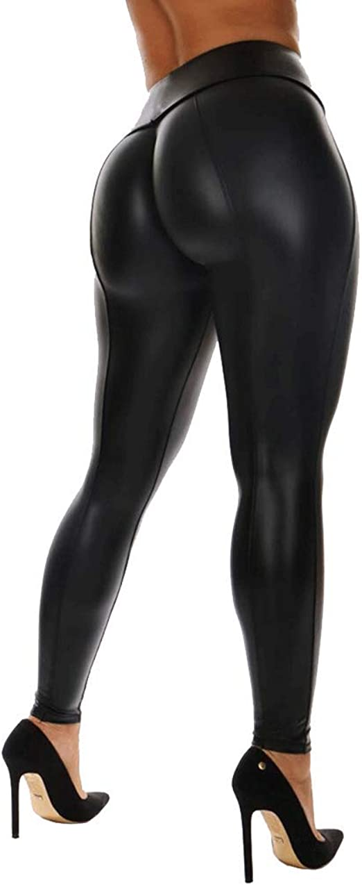 Pu Leather High Waisted Leggings Wet Look Slim Stretchy Pants for Women Girls