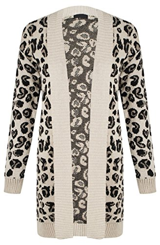 Forever Womens Long Sleeves Leopard Print Knitted Cardigan Stretchy (Leopard Jumper)
