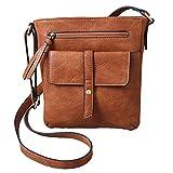 FanCarry Women's Medium Front Flap Solid Crossbody Purse Shoulder Bag Travel Satchel (Light Brown)