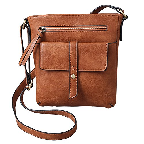 FanCarry Women's Medium Front Flap Solid Crossbody Purse Shoulder Bag Travel Satchel (Light Brown) (Leather Handbags Cross Body)