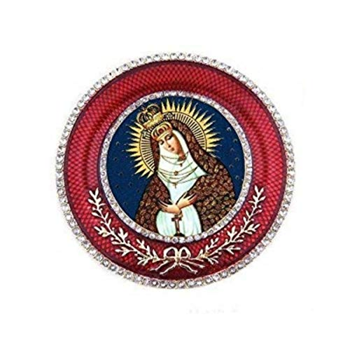 Religious Gifts Our Lady of Grace of The Gate of Dawn Icon of Ostrabrama Mother of Mercy Framed Icon Pendant, Red Room Decoration 2 5/8 Inch ()