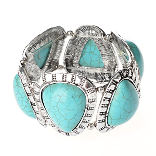 [Tagoo Retro Tribal Silver Turquoise Teardrop Bracelet Bangle Stretchable Elastic Unisex for Women] (Bollywood Costumes For Men)