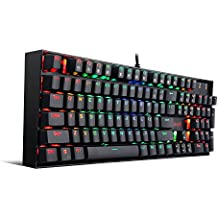Gaming Keyboard Mechanical Keyboard K551 VARA by Redragon 104 Key RGB LED Backlit Mechanical Computer illuminated Keyboard with Blue Switches for PC Gaming Compact ABS-Metal Design