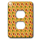 3dRose Anne Marie Baugh - Patterns - Cute Pink, Green, and Red Mexican Guitars On Orange Pattern - Light Switch Covers - 2 plug outlet cover (lsp_295471_6)
