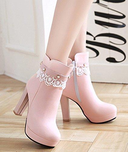 Aisun De Bottines Mariage Chaussures Elégant Nouveau Femme Rose Style rfBqrwz