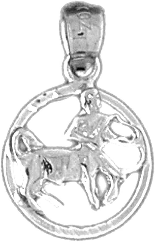 18 mm Sagittarius Pendant Jewels Obsession 14K White Gold Zodiac