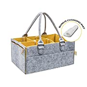 Portable Baby Diaper Caddy : Changing Table Organizer with Spacious Pockets and Removable Compartments, Nursery Storage Box with Changing Pad, Stylish Design - for Wipes, Powder, Clothes, Toys
