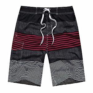 ZIITOP Men's Swim Trunks Quick Dry Water Beach Board Shorts Striped Sportwear